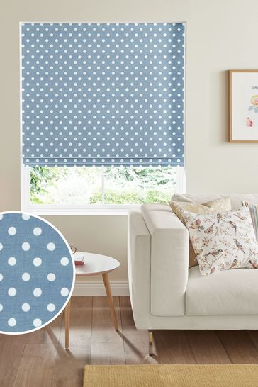 Cath Kidston Blue Button Spot Made To Measure Roman Blind