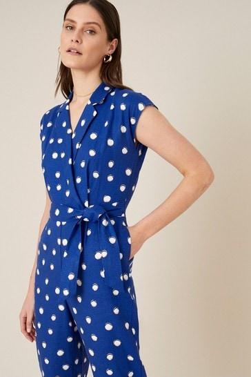 Monsoon Blue Spot Print Jumpsuit in Linen Blend