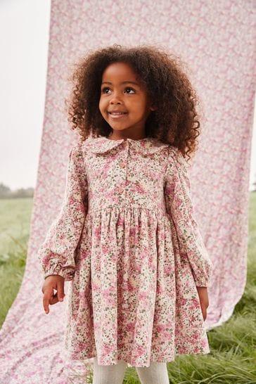Pink Ditsy Floral Cord Shirt Dress