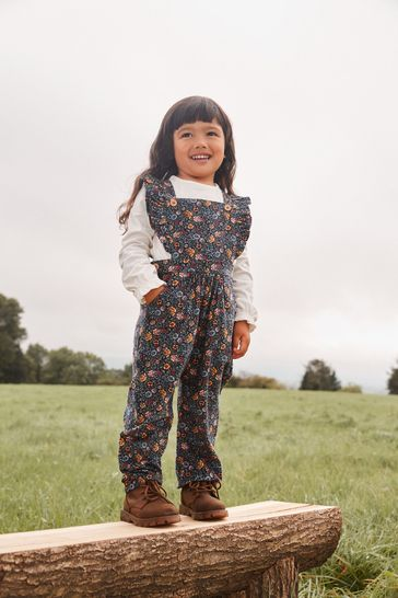 Navy Floral Cord Dungaree and T-Shirt Set
