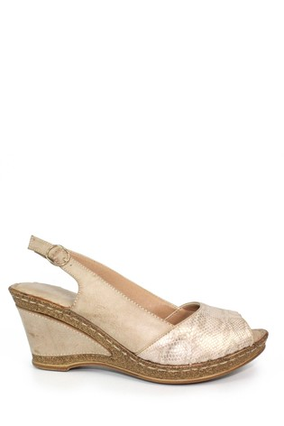 Lunar Natural Barnes Wedge Slingback Sandals