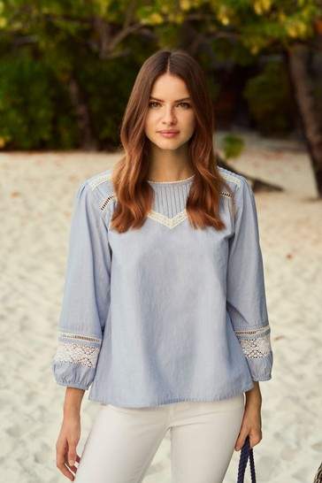 Crew Clothing Company Lace Broderie Top