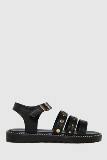 Schuh Black Treble Stud Strap Sandals