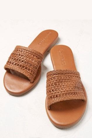 FatFace Tan Maggie Slip-On Sandals