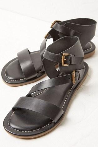 FatFace Black Ellen Buckle Strap Sandals