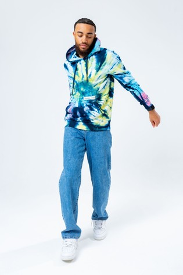 Hype. Mens Blue Tie Dye Overhead Hoodie