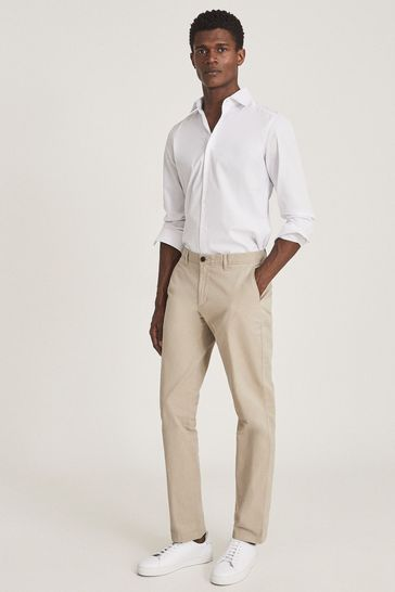 Reiss Yellow Pitch Washed Slim Fit Chinos