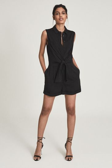 REISS Gemma Playsuit With Self Tie Bow Detail