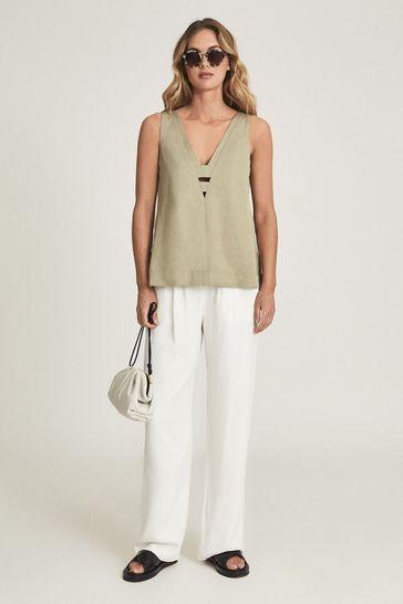 Reiss Green Emi Linen Blend V-Neck Top