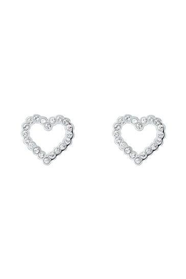 Ted Baker Silver Leenah: Crystal Heart Stud Earrings
