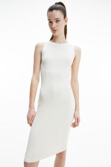 Calvin Klein Jeans Cream Rib Zip Dress