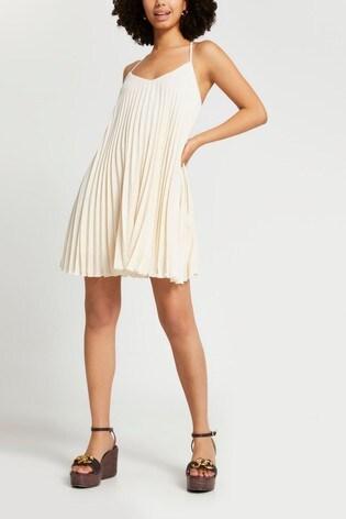 River Island Beige Sleevless Pleated Slip Dress