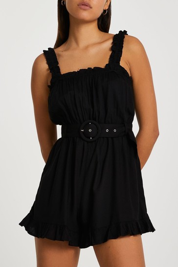 River Island Black Belted Frill Playsuit