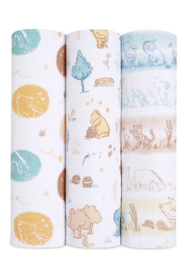aden + anais Disney Baby Winnie In The Woods Large Cotton Muslin Blankets 3 Pack