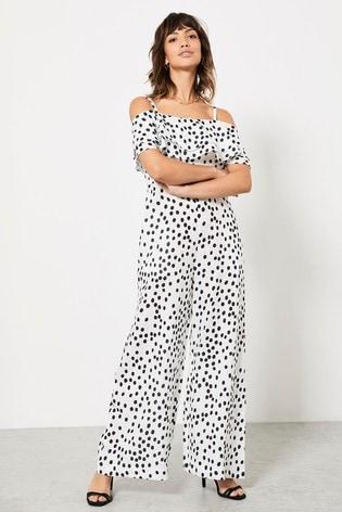 Mint Velvet Polka Dot Linen Jumpsuit