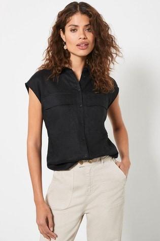 Mint Velvet Black Linen Sleeveless Shirt
