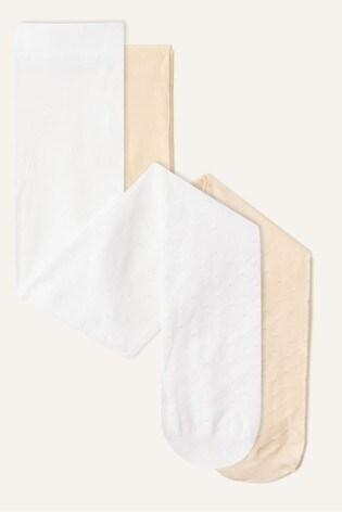 Monsoon White Bridal Spot Tights 2 Pack