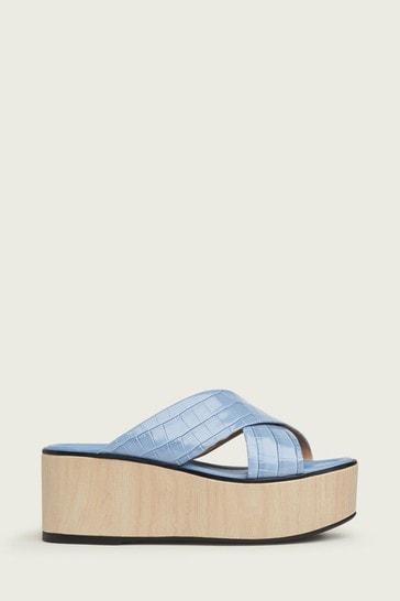 L.K. Bennett Blue Sandra Cross Front Platform Sandals