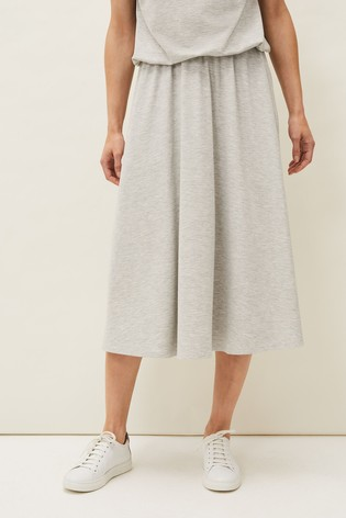 Phase Eight Grey Cliona A-Line Jersey Skirt