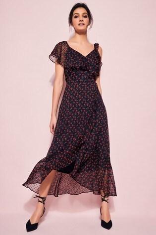 Glamour Floral Ruffle Midi Dress