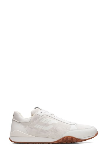 Clarks White Leather Craft Lo Lace Trainers