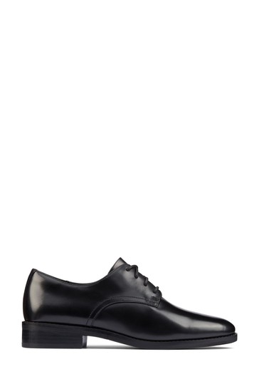 Clarks Black Leather Ria Derby Shoes