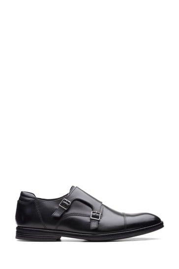 Clarks Black Leather Citi Stride Monk Shoes