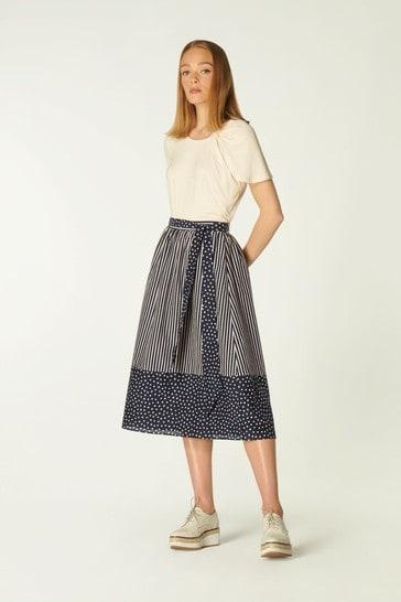 L.K.Bennett Smith Cotton A-Line Skirt
