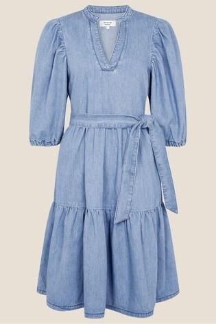 Monsoon Puff Sleeve Belted Denim Dress