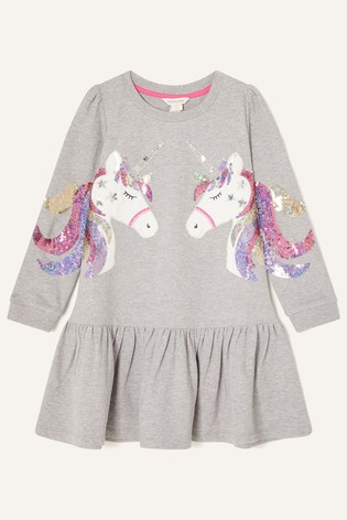 Monsoon Sequin Unicorn Sweat Dress
