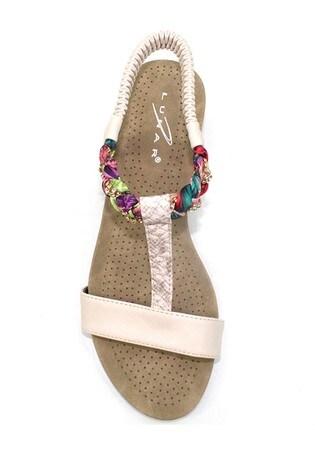 Lunar Cream Fern Diamanté Wedge Sandals