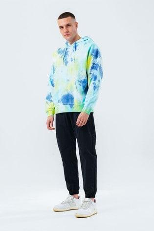 Hype. Mens Blue Tropic Dye Oversized Hoodie