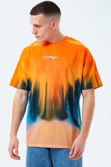 Hype. Mens Orange Melt Oversized T-Shirt