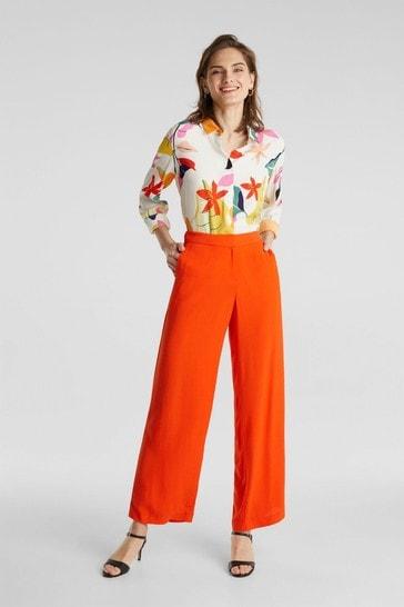 Esprit Orange Crepe Trousers