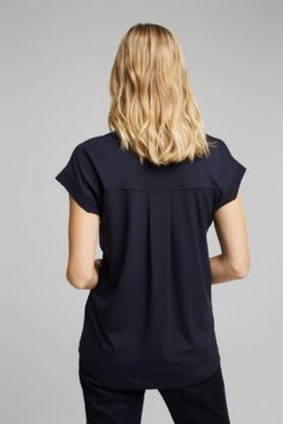 Esprit Blue Lyocell Blend T-Shirt