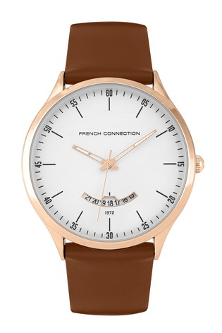French Connection Tan Leather Strap Watch