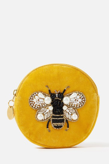 Accessorize Yellow Embellished Bee Coin Purse