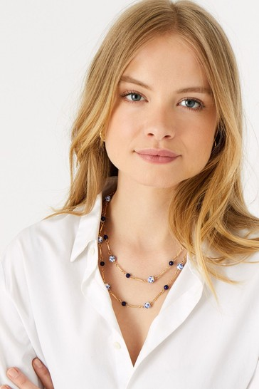 Accessorize Blue Country Retreat Beaded Station Multirow Necklace