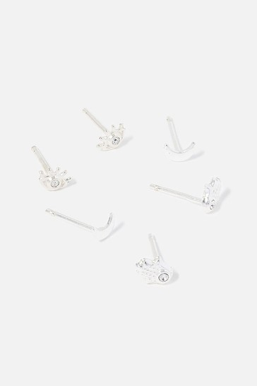 Accessorize Silver Sterling Eye Stud Multipack