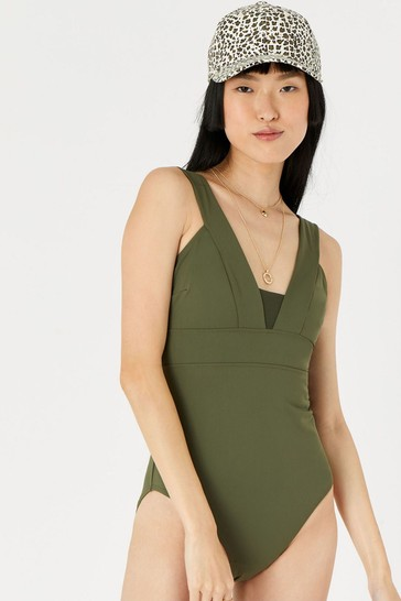 Accessorize Green Lexi Plunge Shaping Swimsuit