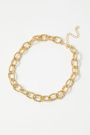 Accessorize Gold Tone Country Retreat Twisted Chain Necklace
