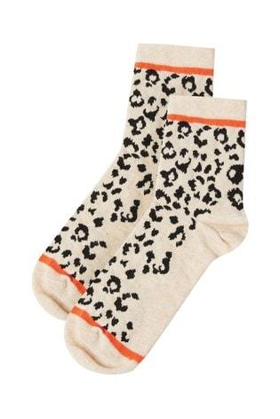 Oliver Bonas Natural Animal Orange Stripe Socks
