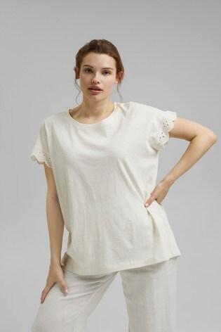 Esprit White Broderie T-Shirt