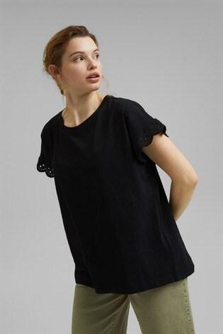 Esprit Black Broderie T-Shirt