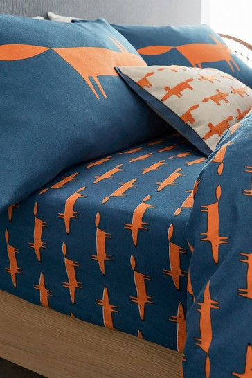 Scion Blue Mr Fox Brushed Cotton Fitted Sheet