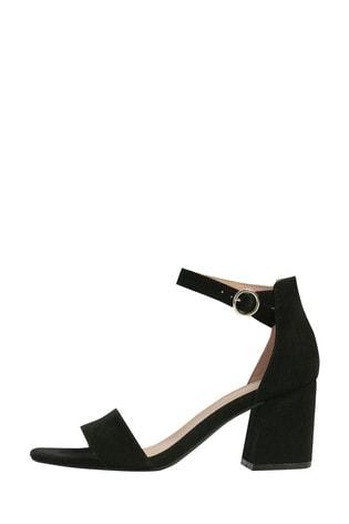 M&Co Black Block Heel Strappy Sandals