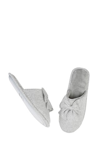 M&Co Grey Bow Jersey Slippers