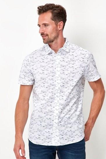M&Co White Cotton Fish Print Shirt