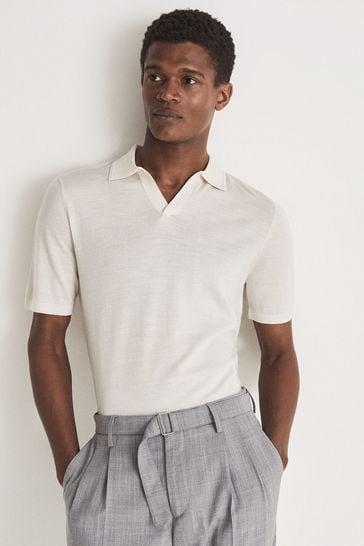 Reiss Cream Duchie Merino Wool Open Collar Polo Shirt