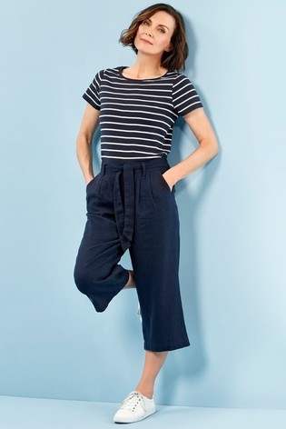 Spirit Blue Cropped Linen Trousers